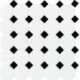 Octagon and Dot 12&quot; x 12&quot; Mosaic in Matte White with Black Gloss Dot