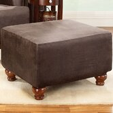 Stretch Leather Ottoman Slipcover