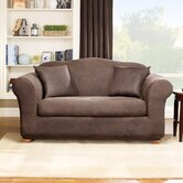 Stretch Leather Two Piece Loveseat Slipcover