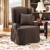 Twill Supreme Wing Chair Slipcover