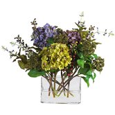 Mixed Hydrangea Silk Flower Arrangement with Rectangle Vase