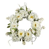 20&quot; Peony Hydrangea Wreath in White