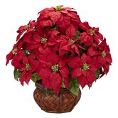 Poinsettia with Decorative Planter Silk Arrangement