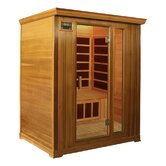 3-Person Cedar Infrared Sauna with Eight Carbon Heaters and Color Therapy Lights