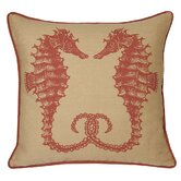 Seahorses Decorative Pillow in Coral Sand
