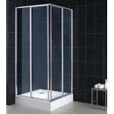 Cornerview Sliding Door Shower Enclosure with Quad Base