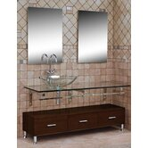 Modern Glass Clear Horizon II Large Vanity