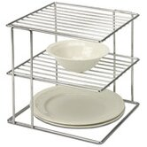 2 Tier Wire Cabinet Corner Shelf in Chrome
