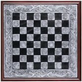 Mystical Legends Chess Board in Faux Silver and Ebony