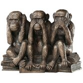 The Hear-No, See-No, Speak-No Evil Monkeys Statue in Faux Bronze