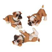 3-Piece British Bulldog Puppy Statue Set