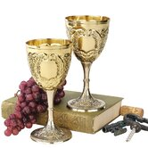 The King's Royal Chalice Embossed Brass Goblet (Set of 2)