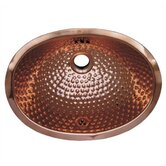 Decorative Undermount Oval Ball Pein Hammered Textured Basin in Polished Copper