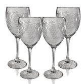Set of 4 White Wine Glass 10.5 oz. Hand Cut Sonoma Pattern