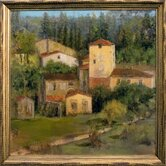 Tuscan Village Canvas Transfer Framed Print