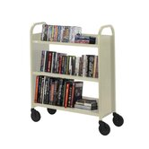 Book Truck, 3 Shelves, 5&quot; Cast, 2 Locking, 36&quot;x18&quot;x44&quot;, PY
