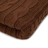 Organic Cotton Fisherman Cable Blanket in Cocoa