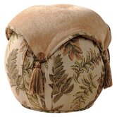 Woodland Ottoman with Top and Side Self Button, Self Cord and Tassels