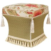 Brianza Pedestal Ottoman with Cord, Braid, Tassel Trim and Tassels