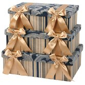 Hampton Largest Rectangle Boxes with Bow and Ribbon Lined (Set of 3)