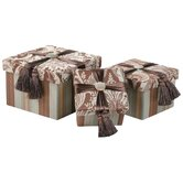 Vellore Storage Gift Box with Self Button and Ribbon and Tassel (Set of 3)
