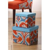 Ikat Square Applique Boxes (Set of 2)