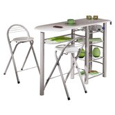 Frida Kitchen Bar with Two Stools in Hi-Gloss White