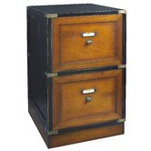 Campaign File Cabinet in Black and Distressed Honey