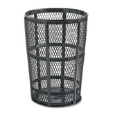 Steel Street Basket Waste Receptacle, Round, Steel, 48gal, Black