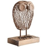 Wisely Owl Sculpture in Rustic