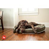 Backyard Camouflage Round Dog Bed in Army Green