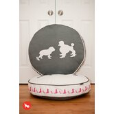 Cosmopolitan Heels and Boots Round Dog Bed in Steel Grey / White