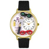 Unisex Ophthalmologist Black Skin Leather and Goldtone Watch in Gold