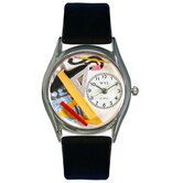 "Women""s Architect Black Leather and Silvertone Watch in Silver"
