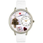 Unisex RN White Leather and Silvertone Watch in Silver