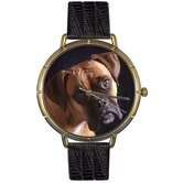 Unisex Boxer Photo Watch with Black Leather