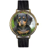 Unisex Dachshund Photo Watch with Black Leather