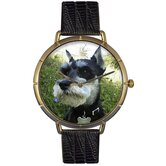 Unisex Schnauzer Photo Watch with Black Leather