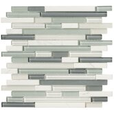 Crystal Stone II 12&quot; x 12&quot; Glass Strip Mosaic in Pearl