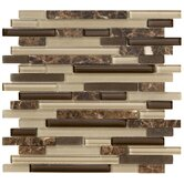 Crystal Stone II 12&quot; x 12&quot; Glass Strip Mosaic in Espresso