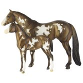 Overo Pinto Mare and Foal Figurine
