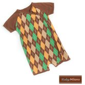 Kimono Baby Bodysuit in Brown Argyle