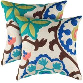 Natural and Blue Decorative Pillow