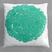 Hydrangea Turquoise Pillow on White Linen