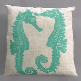 Seahorse Turquoise Pillow on Natural Linen