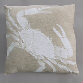 Big Crab White Pillow on Natural Linen