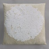 Hydrangea White Pillow on Natural Linen