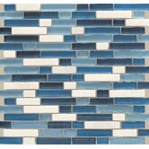 "Legacy Glass 5/8"" x Random Linear Glass & Stone Mosaic Tile in Ocean Blend"