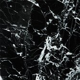 """Natural Stone 12"""" x 12"""" Marble Tile in Black and White"""
