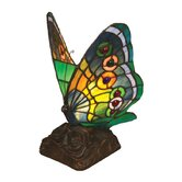 Tiffany Style Butterfly Accent Table Lamp with Thirteen Cabochons